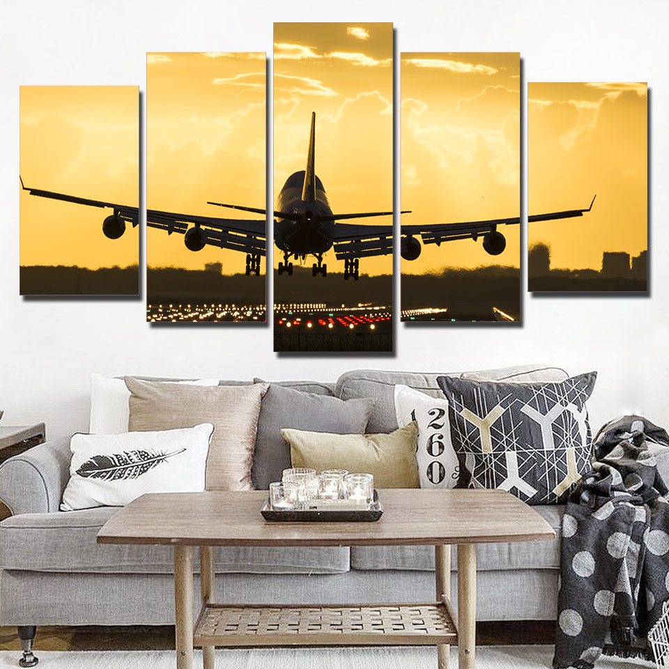 Wall Art Poster Home Decoration Modern 5 Panel Golden Sunset Plane Living Room Canvas HD Print Modular Pictures Painting Frame