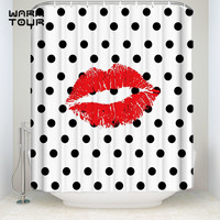 Bath Shower Curtains Sexy Hot Red Lips Polka Dot Mildew resistant Bathroom Decor Sets with Hooks 72 x 78