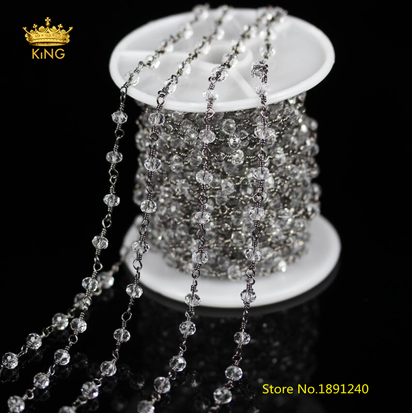5 Meters/Lot.Gun Black Plating Wire Wrapped Abacus Shape Beads Rosary Chains,Clear White Glass Cut Rondelle Chain Necklace ZJ-83 5strands 5x10mm high quality genuine agate rondelle abacus white black loose beads