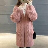 Для женщин Демисезонный свитер 2018 длинный кардиган корейский Тонкий Карманный Свободные розовый вязаный свитер пальто v образным вырезом с