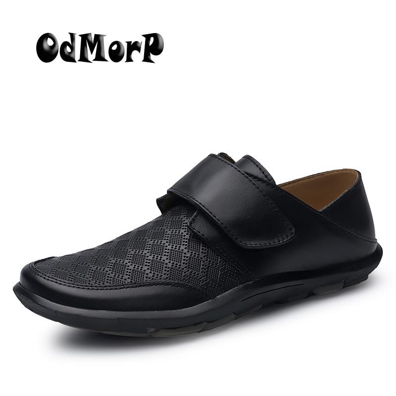 ODMORP Plus Size 38-47 Fashion Men Shoes Black Breathable Moccasins Men Loafers High Quality Genuine Leather Shoes Men dekabr fashion comfortable breathable soft genuine leather loafers shoes men high quality casual falts men oxfords size 38 48