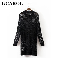 GCAROL New Arrival Crochet Mesh Women Long Sweater Hollow Out Autumn Winter Oversize Casual Knitwear Knitted Tops For Ladies