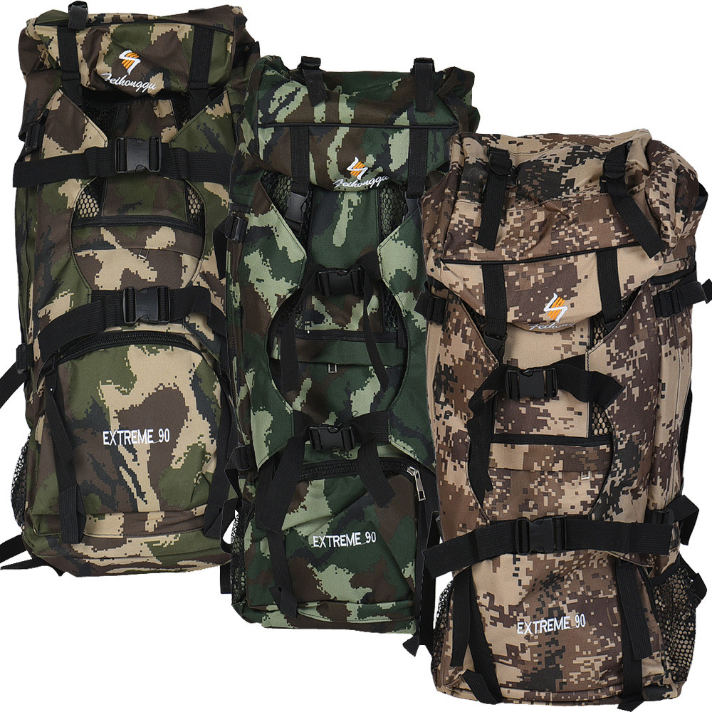 High capacity 90L Large Hiking Mountaineering Camping Hunting Backpack Camouflage Tactical Outdoor Bag Durable Waterproof Nylon large capacity tactical bag mountaineering bag 65l outdoor camping hiking camouflage backpack waterproof cover military backpack
