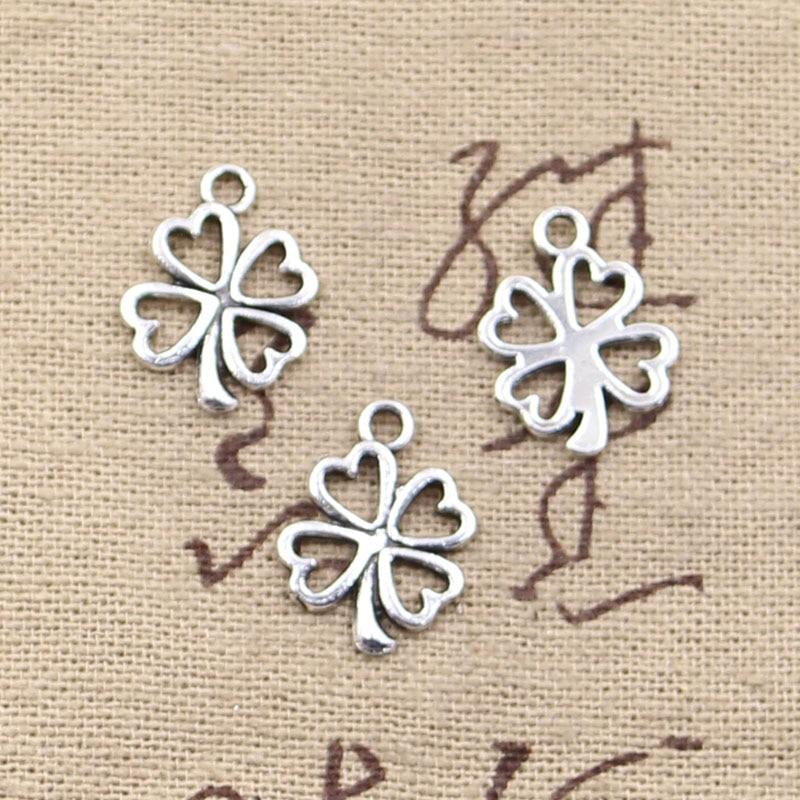 50pcs Charms Clover Flower 17x14mm Antique Pendant Fit,Vintage Tibetan Silver Bronze Finding,DIY For Bracelet Necklace