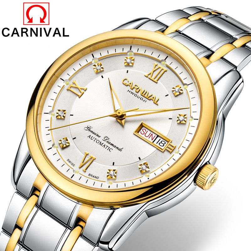 Carnival Vintage Automatic Watch Men Golden Stainless Steel Mechanical Watches  Business Luminous Wristwatch Mens Clock relogios