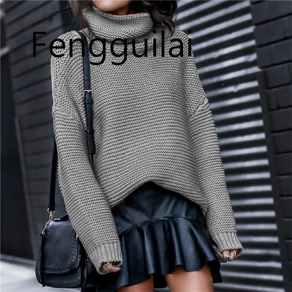 2019 Casual Loose Turtleneck Sweater Women Knitwear Sweater 6 Color Long Sleeve Women Sweater Autumn Pullover Femme in Pullovers from Women 39 s Clothing
