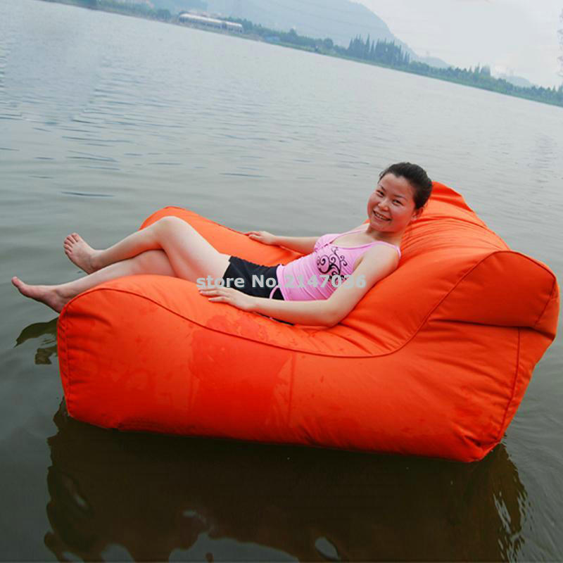 Low price bulk sale sofa style lazy outdoor floating bean bag in orange HEAVY DUTY bean