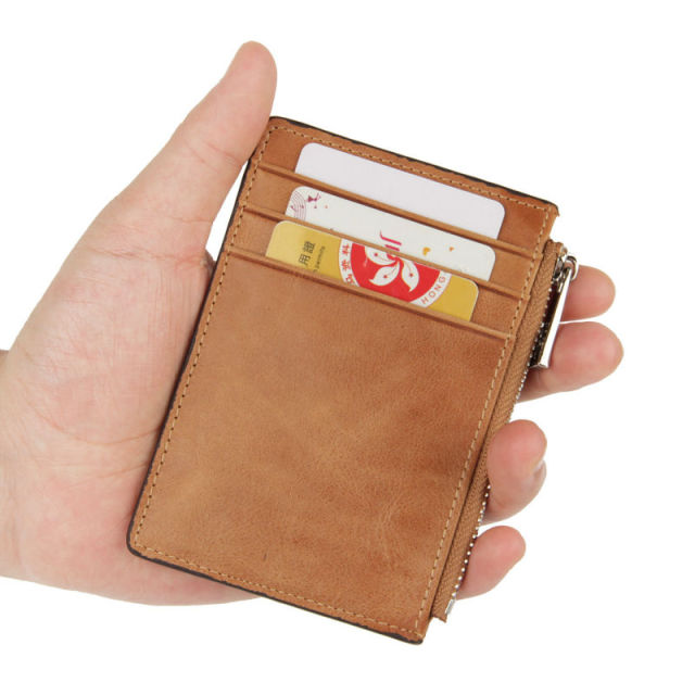 Rfid Blocking Vintage Oil Wax Cowhide Card Holder Antitheft Genuine Leather Card Case Pull Tab Slim Wallet Men Wallets Organizer