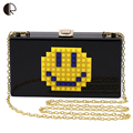 New 2016 Fashion Smiley Face Clutch Bag Women Acrylic Flap Evening Bag Women Hangbag Mini Crossbody bag Bolso Femenino BH918