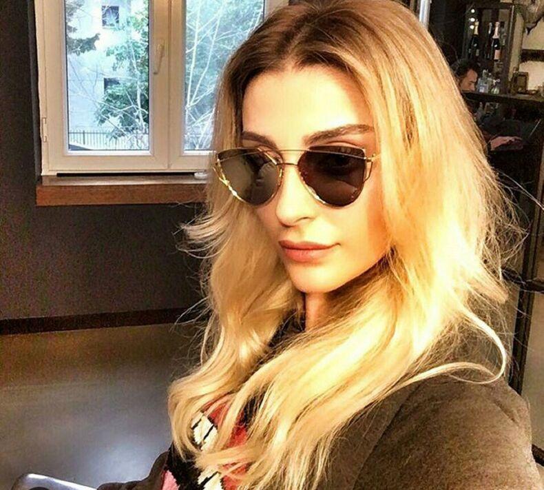 Hot 2017 New Cat Eye Sunglasses Women Brand Designer Fashion Twin-Beams Rose Gold Mirror Cateye Sun Glasses For Female UV400 195 3