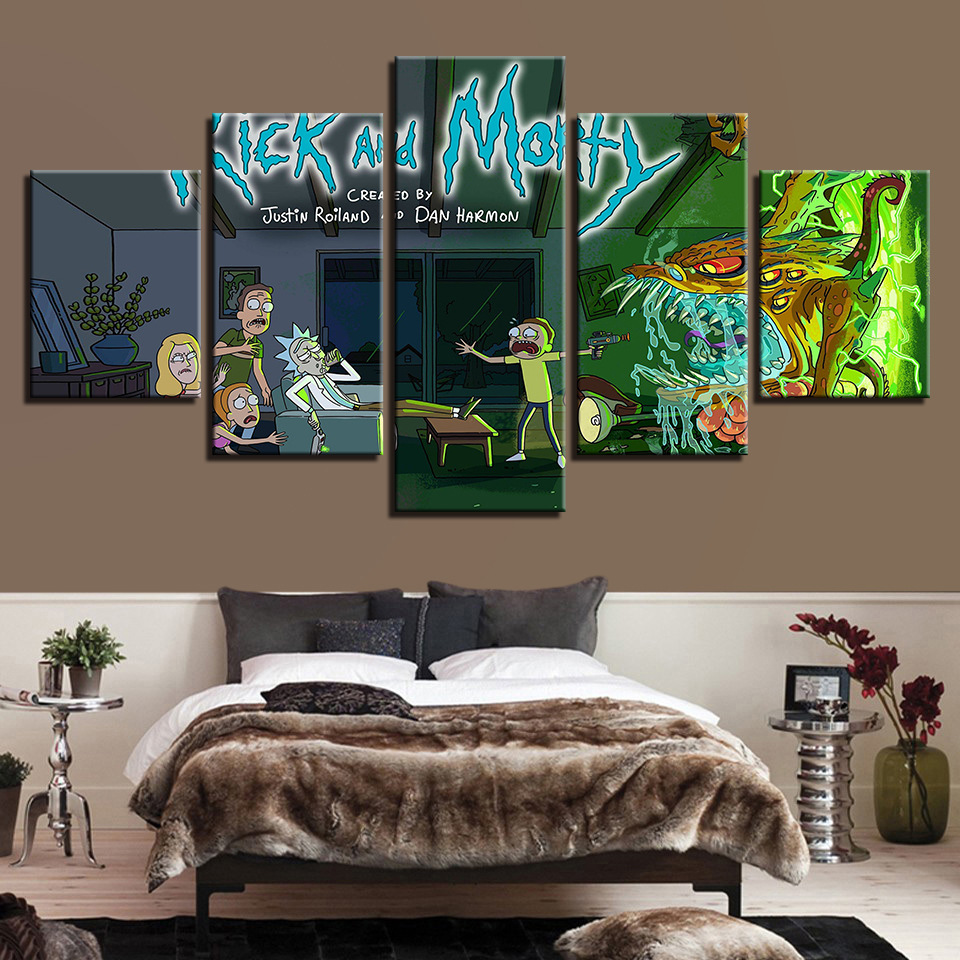 Shopping For Home Decor: Wall Art Picture Prints Rick And Morty Paintings 5 Panels