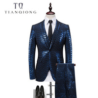 New Arrived Men Tailor madeSequins Men Wedding Suits 2018 Custom Made Suits Party Dresses Men Suit (Jacket+vest+pants)