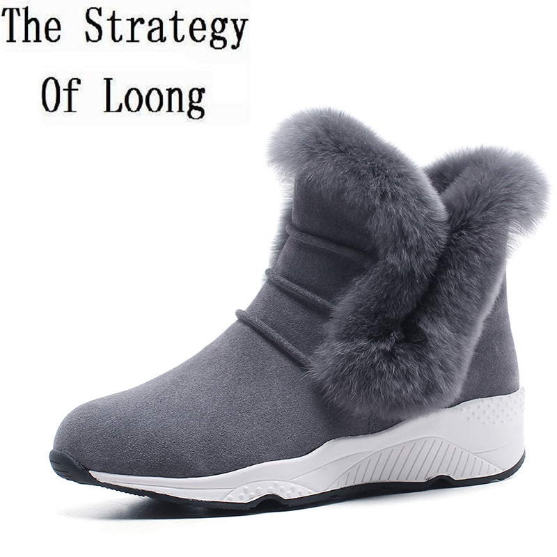 2017 New Plush Real Leather Women Thick Warm Snow Boots Casual Fur With Leather Nubuck Leather Flat Winter Ankle Boots ZY171031 skullies beanies the new russian leather thick warm casual fashion female grass hat 93022