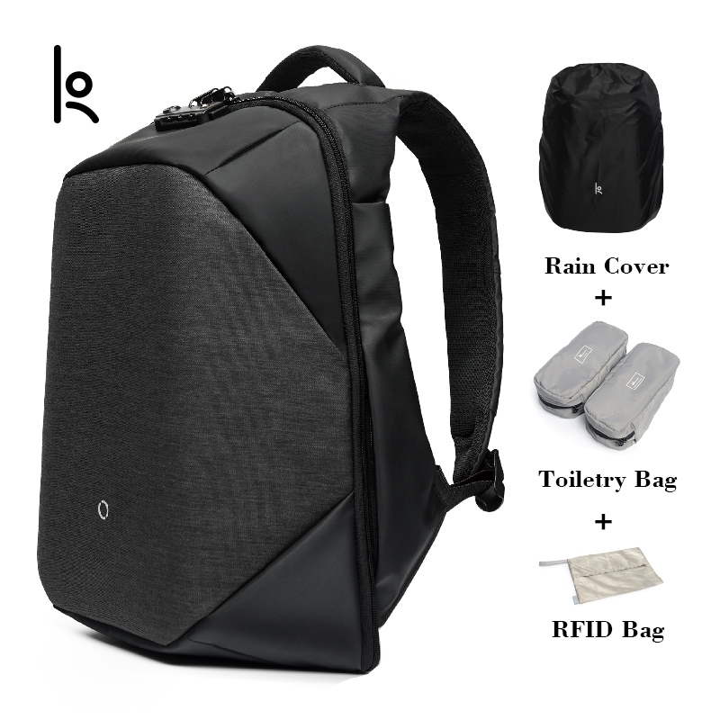 K Click Anti thief Solid Backpacks Scientific Storage System Bags External USB Charging Laptop Backpack For