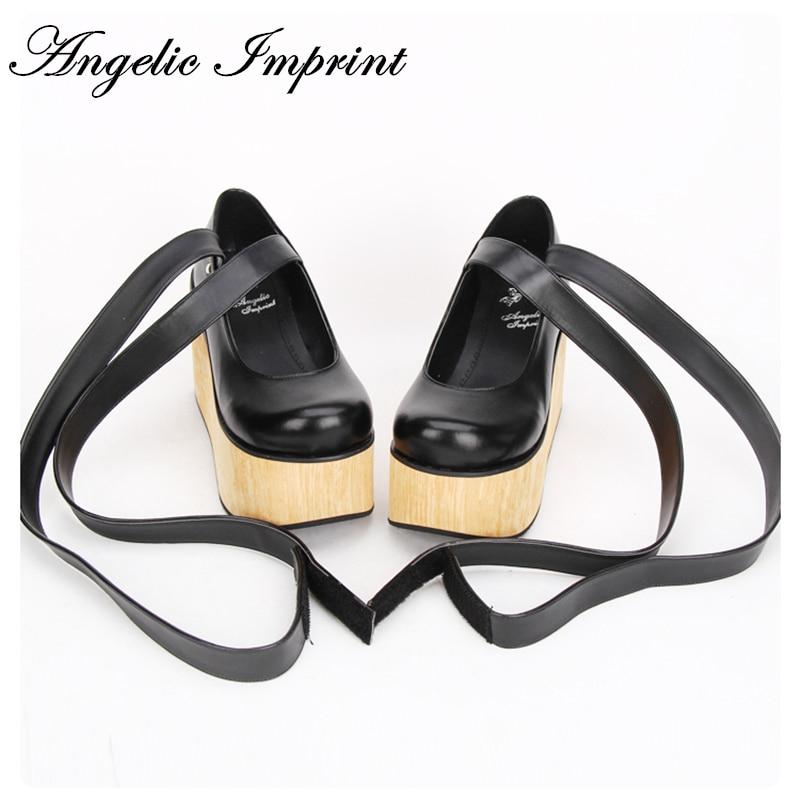 Japanese Harajuku Thick Platform Wood Wedge Punk Lolita Shoes Bandage Gladiator Shoes