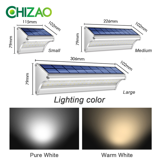 CHIZAO LED Solar Power Lamp PIR Motion Sensor Metal Solar Wall Light Outdoor Waterproof Garden Super Bright Energy Saving Lamp 5