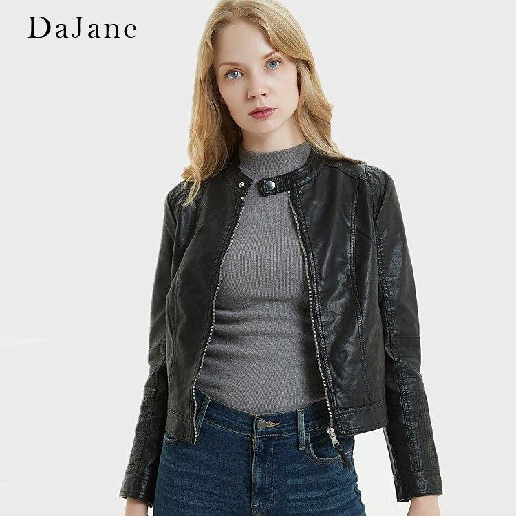 DaJane New Pu   Leather   Women Short Slim Jacket Black Round Neck Europe And Motorcycle   Leather   Jacket Tide