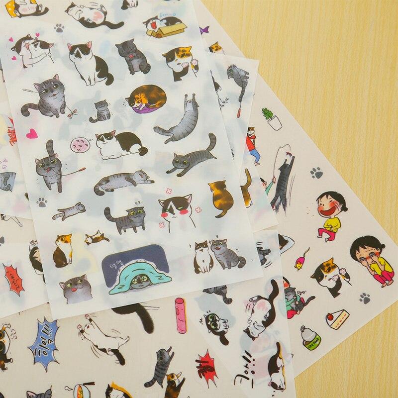 6 ks / lot roztomilý kočka PVC samolepka diy plánovač - Bloky a záznamní knihy - Fotografie 4