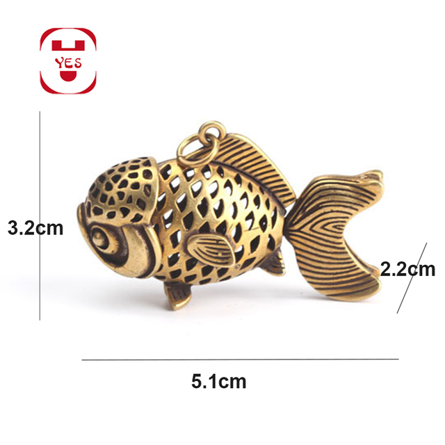 Brass Vintage Cute Hollow goldfish carp fish Swinging tail Statue Keychain Pendant Decoration Ornament Sculpture Home office 6