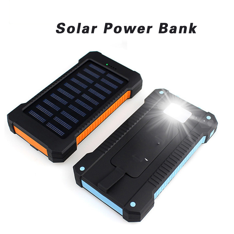 Portable USB Solar Power Bank 20000 mah External Battery DUAL Ports Power Bank 20000mAh Charger Mobile Charger For xiaomi solar powered 2600mah external li polymer battery charger power source bank black