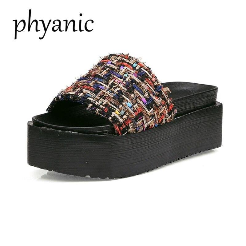 Phyanic бренд 2018 Лидер продаж Для женщин тапочки летние модные туфли Для женщин на платформе сандалии с открытыми пальцами толстая подошва шле...