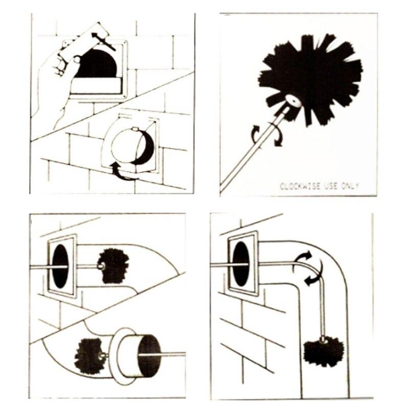 Нейлоновая Щетка с 6 шт. ложки с длинной ручкой, гибкая труба из ПВХ, стержни для дымохода чайник дом очиститель, инструмент для очистки компл... - 4