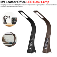 LED Desk Lamp Dimming Table Lamps with LCD Display Clock Calendar For Work 5W Leather Texture Office Business