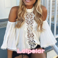 все цены на Halter White Lace Women Blouse Shirt Summer Off Shoulder Hollow Out Blouse Top Female Elegant Flare Sleeve Blouse Blusas онлайн