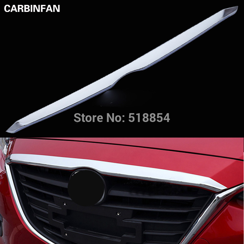 For 2014 2015 2016 Mazda 3 ABS Chrome front hood Grill cover bonnet trim