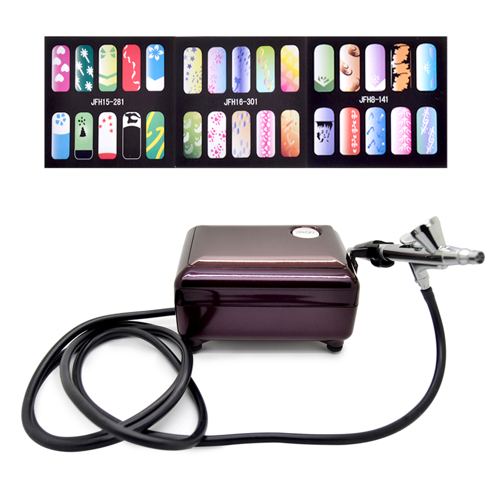 New Fashion Airbrush Pen Kit Makeup Spray Gun for Body Nail Paint with Air Compressor, Horse, 2 Stencil ultimate body paint body makeup airbrush kit with 6 airbrushes and 12 custom body colors and airbrush holder
