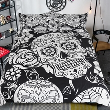 LISM 3Pcs New Skull head Duvet Cover Set With Pillowcases Halloween black Bedding Microfiber Soft Quilt Queen Size