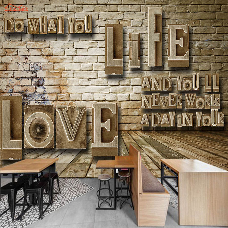 Letters On Brick Wood Board 3D Room Wallpaper For Walls 3d