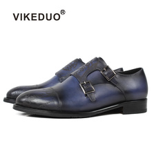 Vikeduo Classic Women Monk Strap Shoes Letter Laser Sapato Mujer Vintage Blue Handmade Shoe Lady Genuine Leather Patina Footwear vikeduo 2018 men s genuine leather dress shoes vintage classic monk strap shoe male plus size handmade wedding sapato masculino