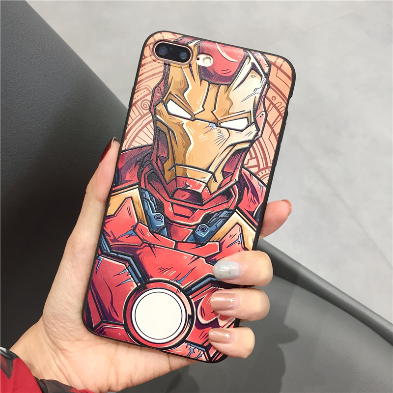 Superman Marvel cover cases for iphone X XS MAX XR 10 8 7 6 6S plus 3D Relief soft Silicone phone case cover case coque iron Man in Fitted Cases from Cellphones Telecommunications