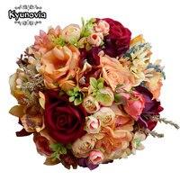 Kyunovia Dália Flor De Seda Do Casamento Buquê de Flores Silvestres Rosas Bouquets de Dama de honra Laranja Acentos 3 PCs CONJUNTO Buquê de Noiva FE82