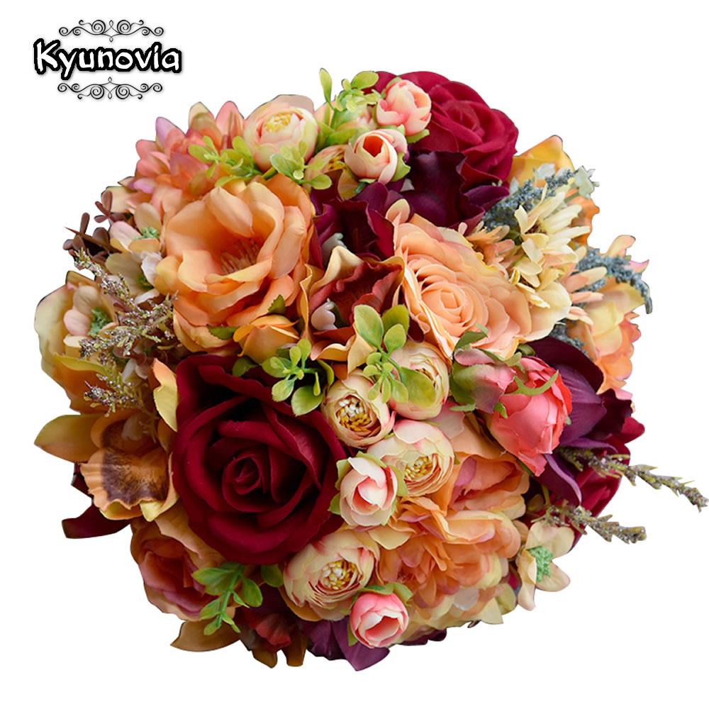 Kyunovia Silk Wedding Flower Dahlia Bouquet Wild Flowers Bridesmaid Bouquets Roses Orange Accents 3PCs SET Bridal Bouquet FE82