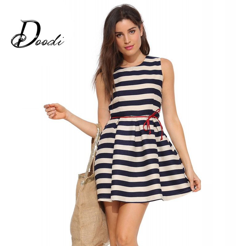 Women Summer Dress 2015 New Cute White Blue Dress Striped Red Sashes