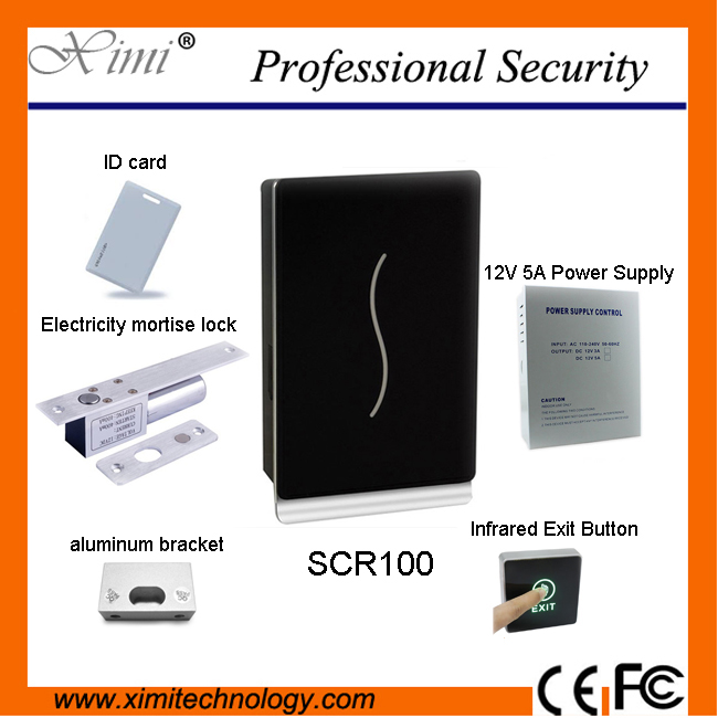 Cheap proximity card access control system with 12V5A power supply , electric lock and  FRID card ,bracket kit turck proximity switch bi2 g12sk an6x