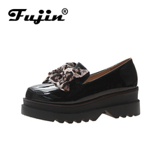 купить Fujin 2019 Autumn Women Flat Creepers Platform Shoes Pu Slip on Loafers Women Casual Butterfly Knot Leather Shoes дешево