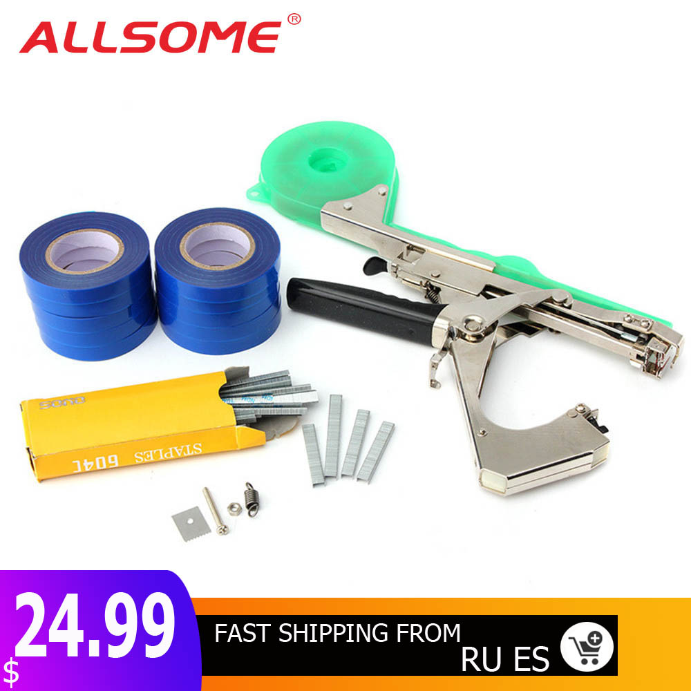 ALLSOME Tying Machine Plant Garden Plant Tapetool Tapener +10 Rolls Tape Set For Vegetable Grape Tomato Cucumber Pepper Flower(China)