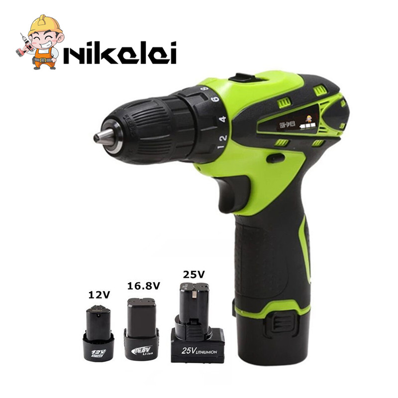 12V Rechargeable Lithium Battery Charging Cordless Screw Driver Gun Electric Drill Bit 16.8v Electric Screwdriver Power Tool
