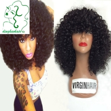 Fashion short curly lace front human hair wigs with bangs 100% unprocessed virgin brazilian curly bob wigs for black women