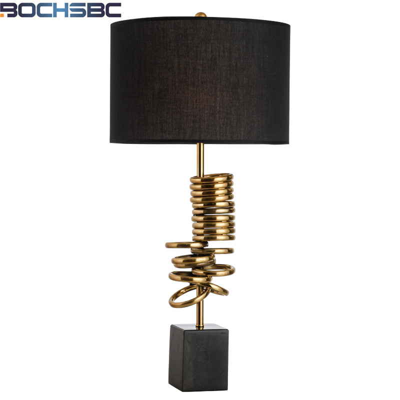 Modern Table Lamp Creative Gold Metal Rings Decoration Table Lamps Black  Fabric Bedside Light Hotel Bedroom