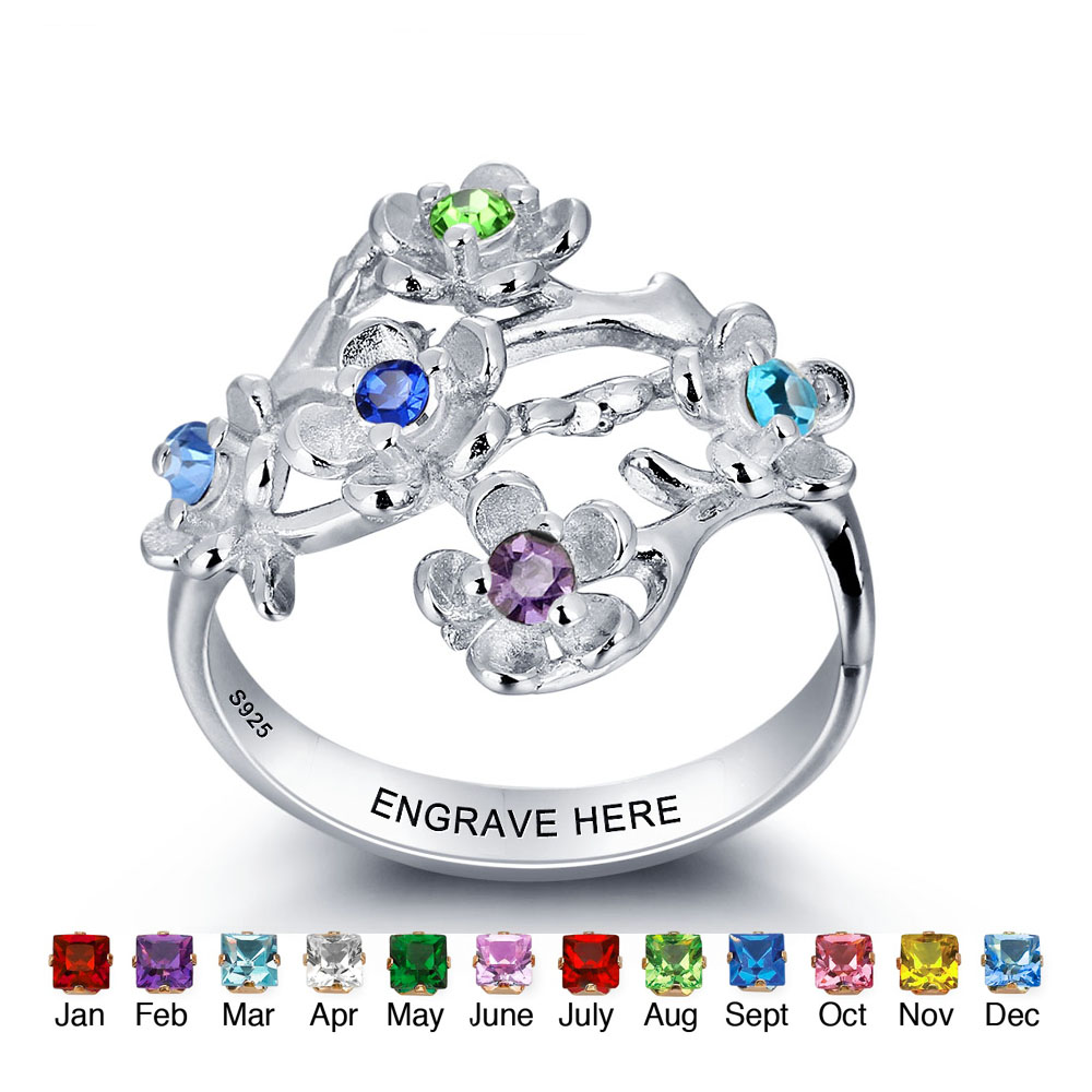 Personalized 925 Sterling Silver Birthstone Rings Promise Rings Name Custom Rings For Women Family Jewelry Gift (RI101964) promise rings engagement rings personalized jewelry 925 sterling sliver heart birthstone rings custom gift for women