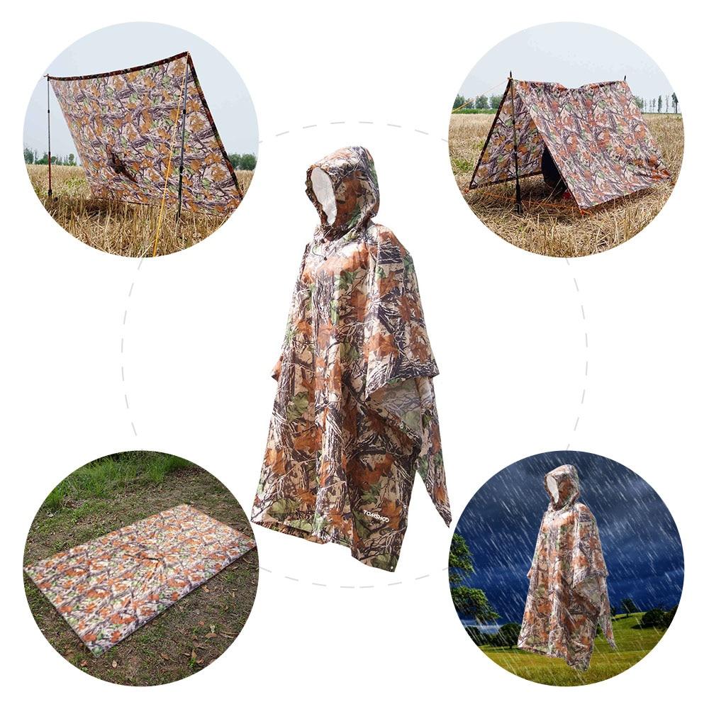Multifunctional Rain Coat Protable Hiking Camping Raincoat Poncho Jacket Pockets Mat Awning Outdoors Gear Supplies 3 In 1
