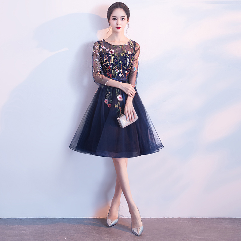 YIDINGZS Short Prom Dresses Embroidery Tulle Knee Length Party Dress