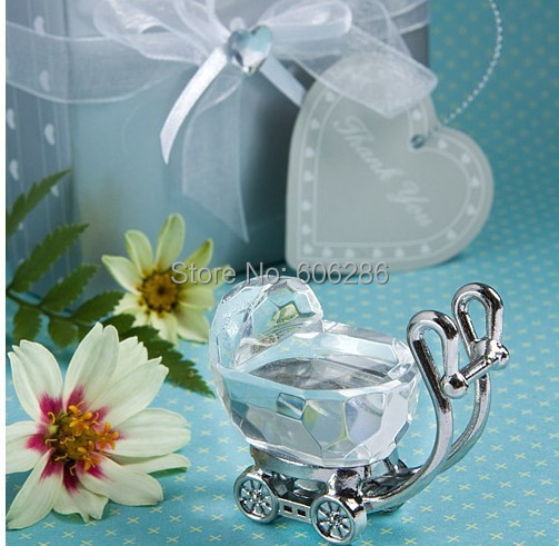 60pcs Lot Christening Favors Choice Crystal Baby Carriage For Baby
