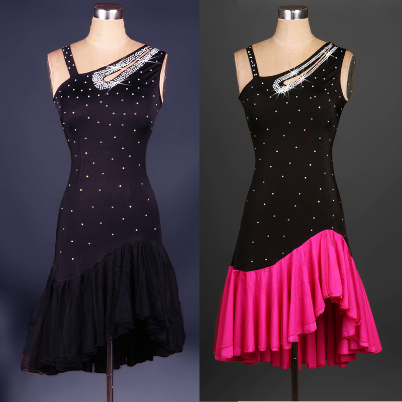 New Women Elegant Latin Dance Dress Feminina Black ...