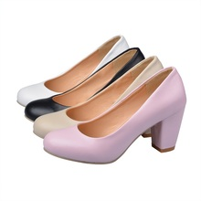 women high heels spring autumn single shoes simple shallow woman pumps round toe big size 34-47