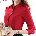 2016 Autumn fashion OL women clothing new long sleeve shirt solid color Formal blouse plus size office ladies chiffon tops red